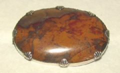 Photo 1 for Banded Agate and Silver Brooch