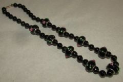 Photo for Black Glass 'Lampwork' Art Deco Necklace