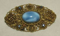 Photo for Czech Blue Glass & Brass Brooch