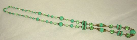 Main photo for Czech Faux Jade & Painted Gilt Metal Necklace