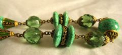 Photo 2 for Czech Faux Jade & Painted Gilt Metal Necklace