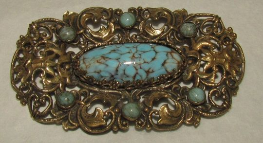 Main photo for Czech Faux Turquoise & Brass Brooch