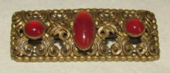 Photo 1 for Czech Gilt Metal & Faux Carnelian Glass Brooch
