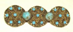 Photo for Czech Pressed Metal & Glass Brooch