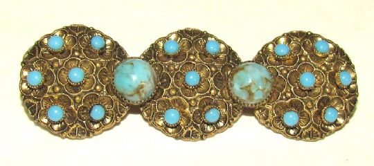 Main photo for Czech Pressed Metal & Glass Brooch