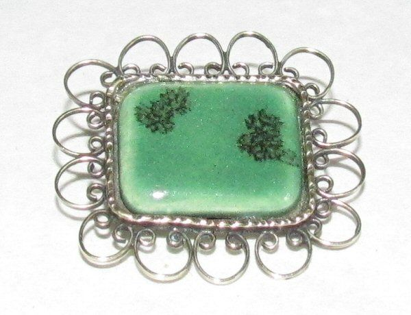 Main photo for Green Ceramic and Gilt Metal Brooch
