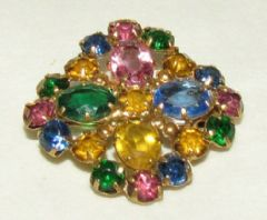Photo for Multicoloured Paste & Gilt Metal Art Deco Brooch