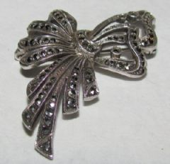 Photo 1 for SILVER & MARCASITE BOW BROOCH