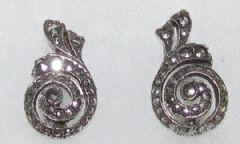 Photo 1 for Silver & Marcasite Clip Earings