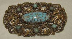 Photo for Czech Faux Turquoise & Brass Brooch