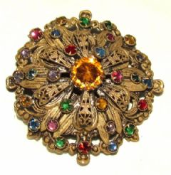 Photo for Czech Glass & Pierced Metal Round Brooch