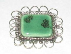 Photo 1 for Green Ceramic and Gilt Metal Brooch