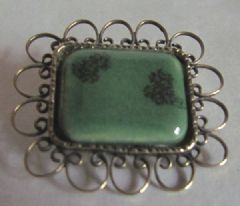 Photo 2 for Green Ceramic and Gilt Metal Brooch