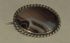 Photo 1 for Silver & Agate Brooch