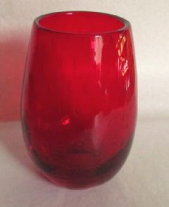 Photo for WHITEFRIARS RUBY CASED BUBBLE GLASS VASE